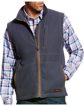 Ariat Men's Rebar Canvas Softshell Vest , Grey, hi-res
