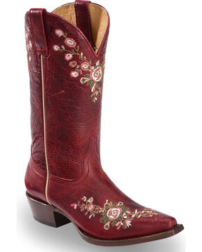 Shyanne Women's Christina Red Floral Western Boots - Snip Toe, Red, hi-res