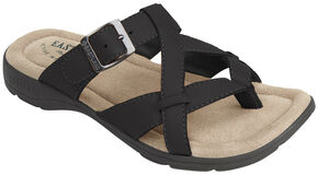 Eastland Women's Black Pearl Thong Sandals, Black, hi-res