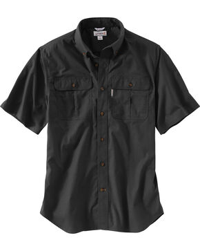 Carhartt Men's Foreman Short Sleeve Work Shirt, Black, hi-res