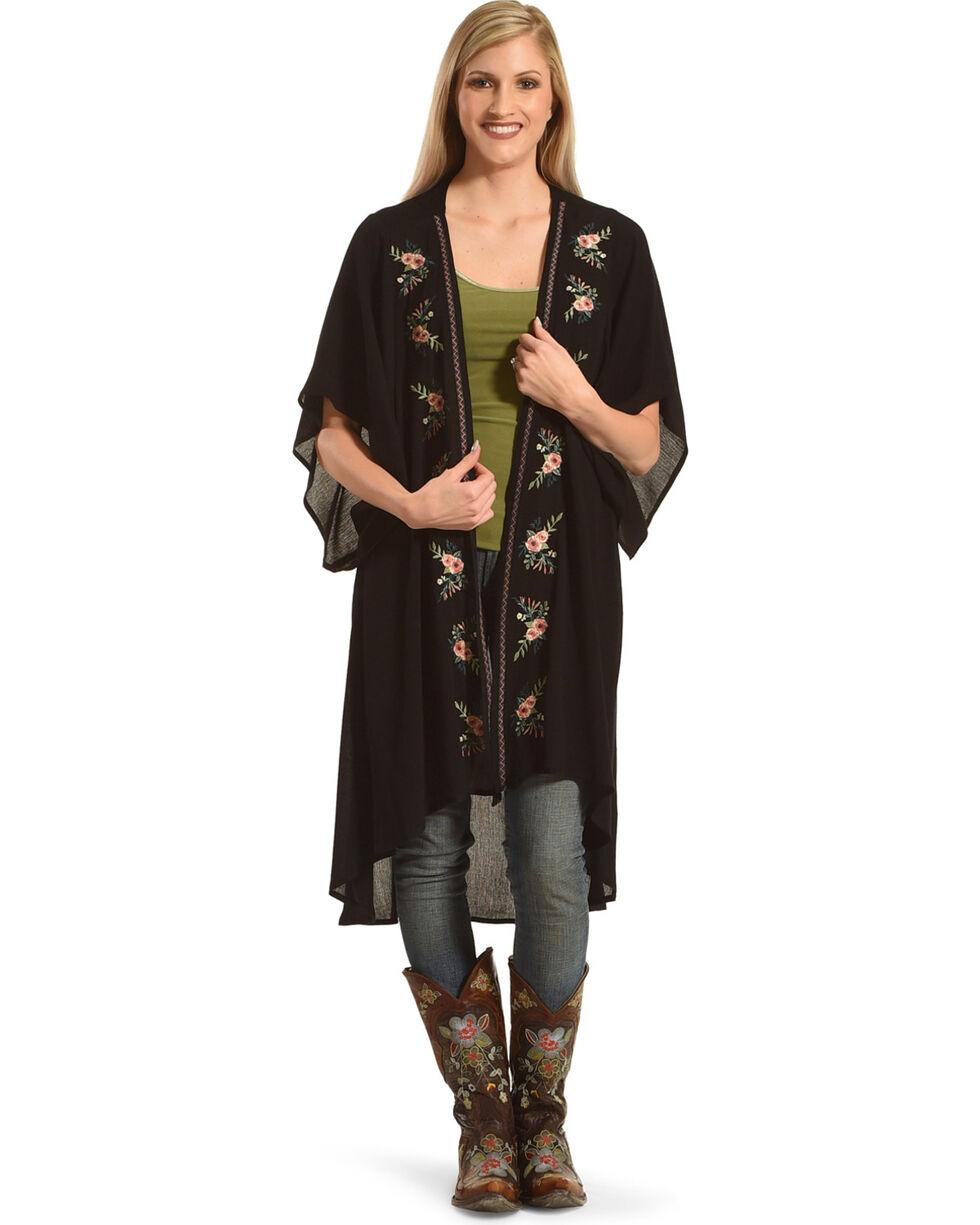 Polagram Women's Floral Embroidered Kimono, Black, hi-res