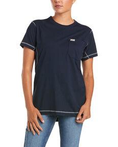 Ariat Women's Navy Camo Rebar Workman Back Flag Graphic Short Sleeve Work Pocket T-Shirt , Blue, hi-res