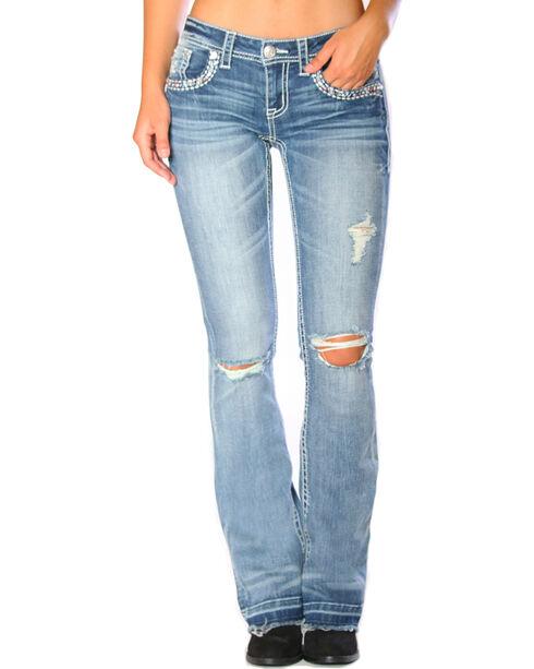 Grace in LA Women's Indigo Released Hem Jeans - Boot Cut , Indigo, hi-res