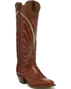 Tony Lama Women's Brown Full Quill Ostrich Cowgirl Boots - Square Toe, Brown, hi-res