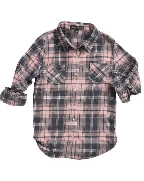 Derek Heart Girls' Pink Tab Sleeves Plaid Flannel Shirt, Pink, hi-res