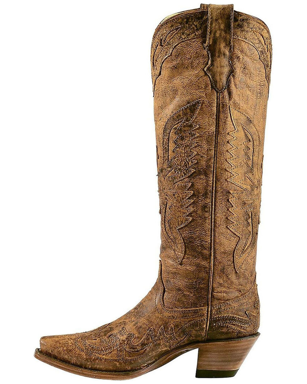 Corral Vintage Brown Eagle Overlay Tall Cowgirl Boots - Snip Toe, Brown, hi-res