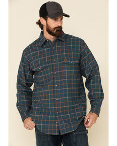 Wrangler Riggs Men's Multi Plaid Heavyweight Flannel Long Sleeve Work Shirt - Big , Orange, hi-res