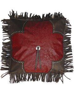 HiEnd Accents Cheyenne Red Scalloped Tooled Square Pillow, Multi, hi-res