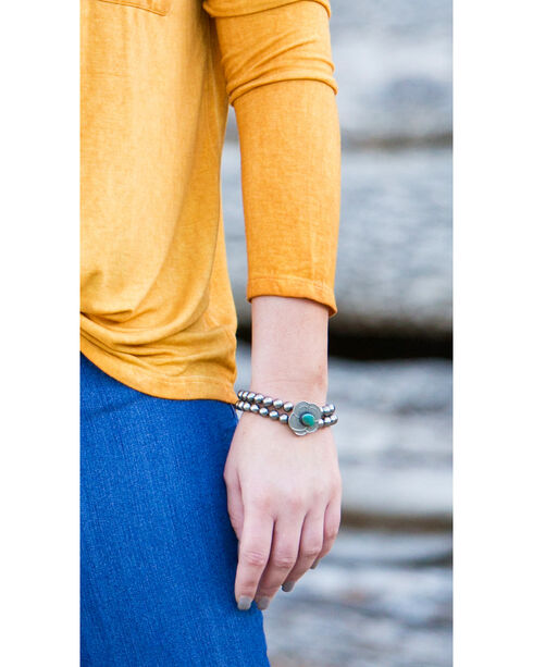 West & Co. Women's Two Strand Pewter Turquoise Blossom Stretch Bracelet, Silver, hi-res