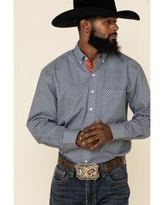 Resistol Men's Blue Buckthorn Geo Print Long Sleeve Western Shirt , Blue, hi-res