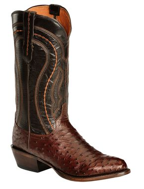 Lucchese Handmade 1883 Full Quill Ostrich Drosseto Boots - Round Toe, Sienna, hi-res