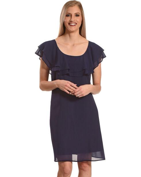 Harlow & Rose Women's Criss Cross Ruffle Dress , Blue, hi-res