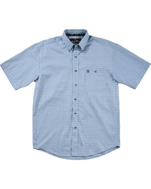 Wrangler George Strait Men's Blue Plaid Short Sleeve Shirt, Blue, hi-res