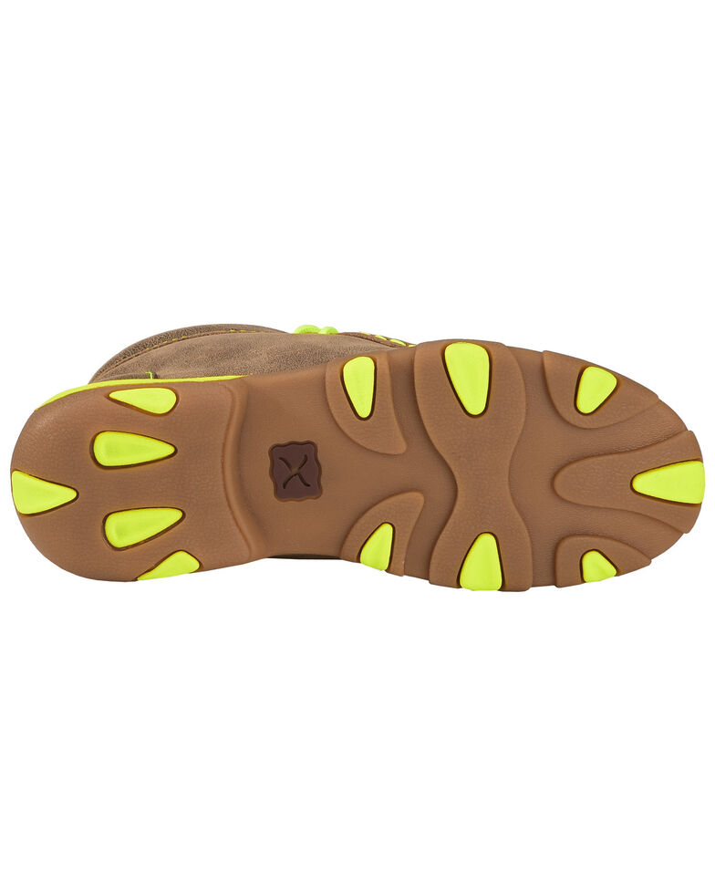 Twisted X Youth Boys' Brown and Neon Yellow Leather Driving Mocs, Bomber, hi-res
