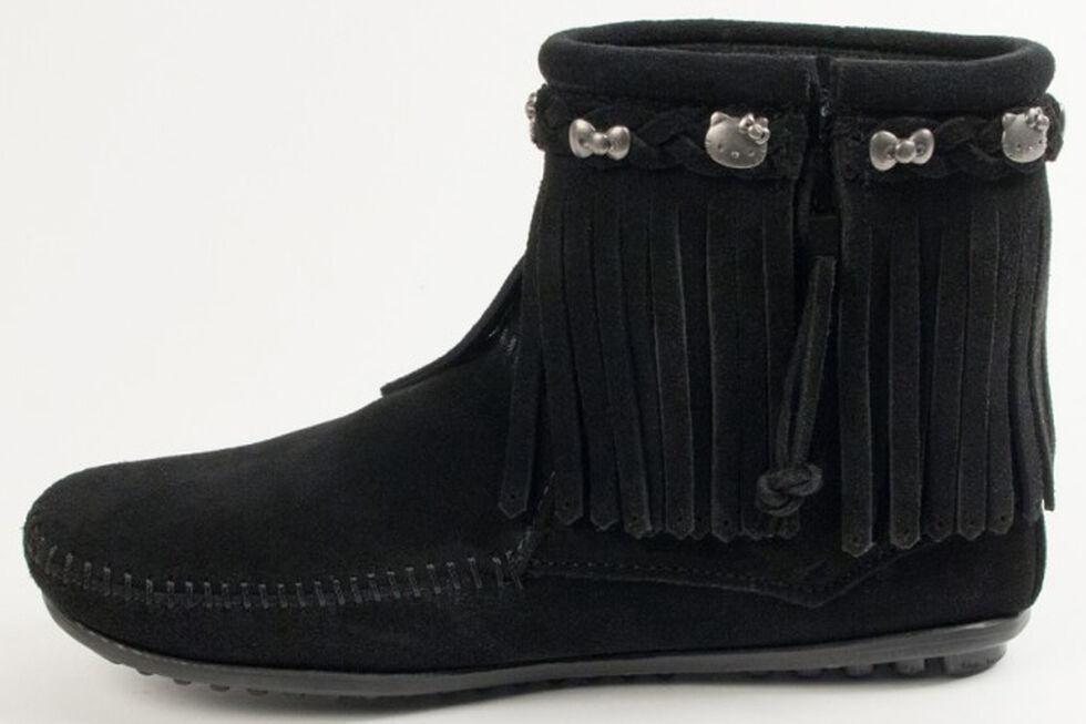 Minnetonka Women's Hello Kitty 40th Anniversary Fringe Boots, Black, hi-res