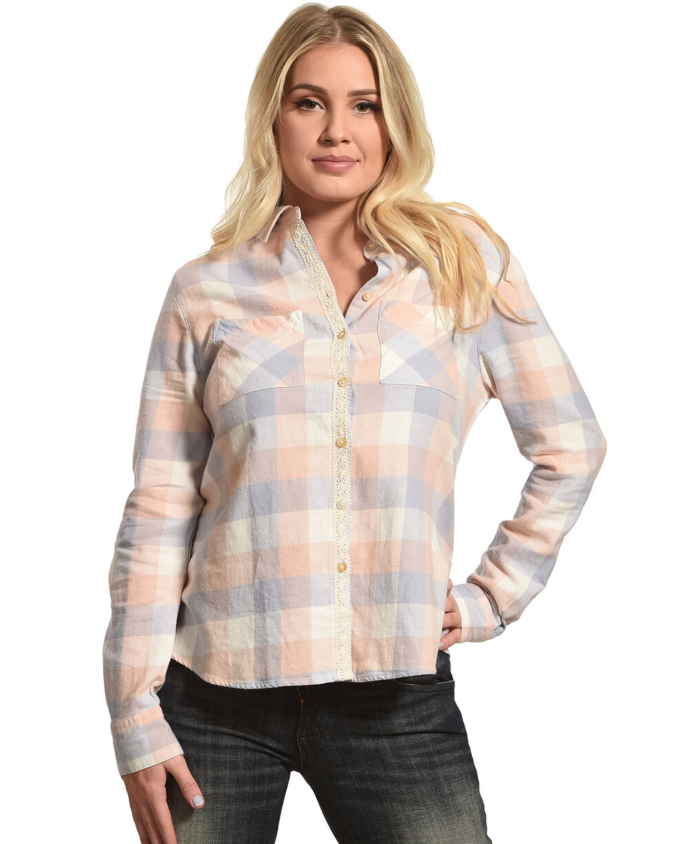 Shyanne Women's Long Sleeve Aztec Braid Placket Flannel Shirt, , hi-res