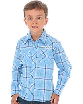 Wrangler Boys' Plaid Long Sleeve Wrangler Logo Shirt, Blue, hi-res