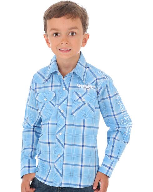 Wrangler Boys' Plaid Long Sleeve Wrangler Logo Shirt, Blue, hi-res