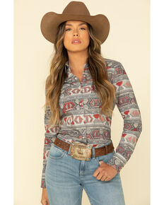 West Made Women's Red Aztec Long Sleeve Western Shirt, Red, hi-res
