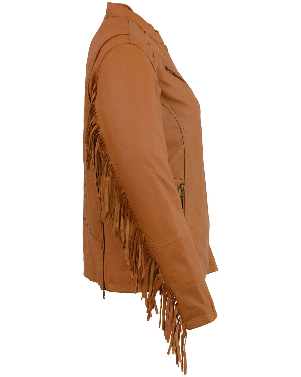 Milwaukee Leather Women's Lightweight Scuba Racer Jacket With Fringe - 5X, Medium Brown, hi-res