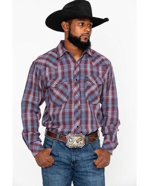 Resistol Men's Parabellum Plaid Long Sleeve Western Flannel Shirt , Dark Blue, hi-res