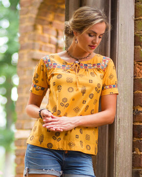 Ryan Michael Women's Maize Day of the Dead Artisan Top, Dark Yellow, hi-res