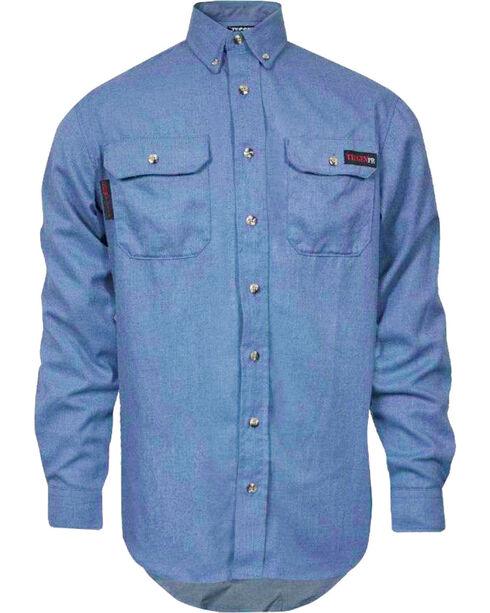 Tecgen Men's Long Sleeve Flame Resistant Industrial Work Shirt, Light Blue, hi-res