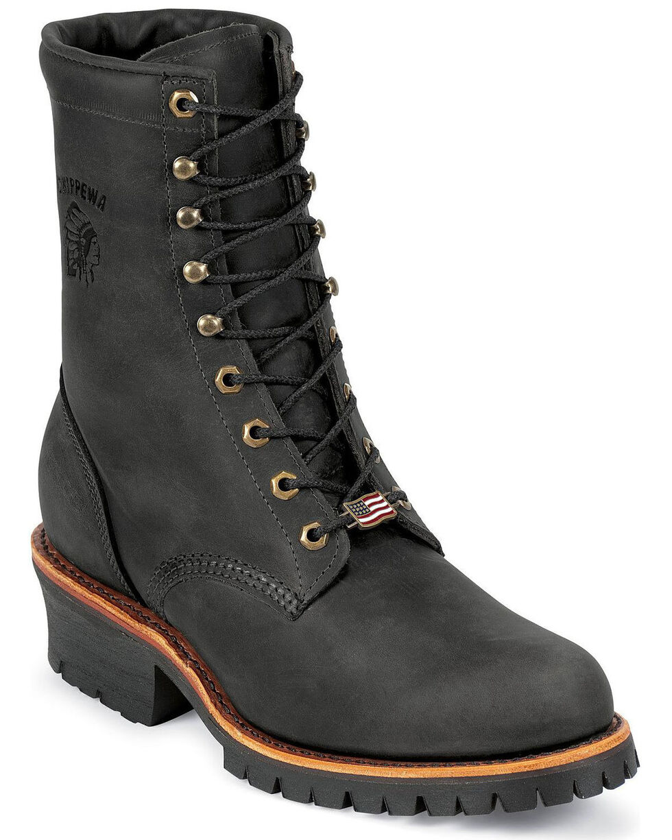 "Chippewa Men's Black Odessa 8"" Lace-Up Work Boots - Steel Toe, Black, hi-res"