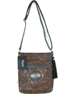 Savana Women's Fierce Tooled Professional Carry Crossbody Purse , Brown, hi-res