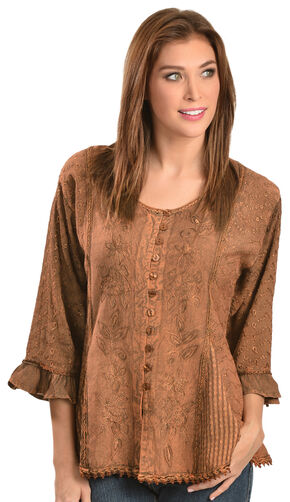 Scully Floral Embroidered Ruffled Sleeve Top, Copper, hi-res