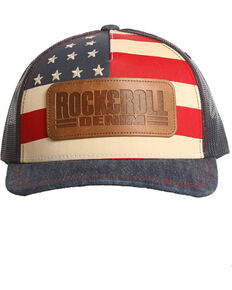 Rock & Roll Cowboy Men's American Flag Cap, Red/white/blue, hi-res