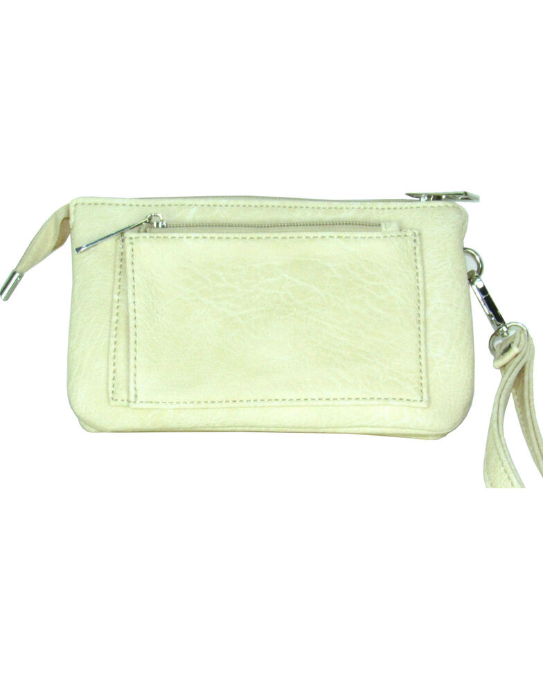 Savana Women's Faux Leather Clutch Zip Wristlet *DISCONTINUED*, Cream, hi-res