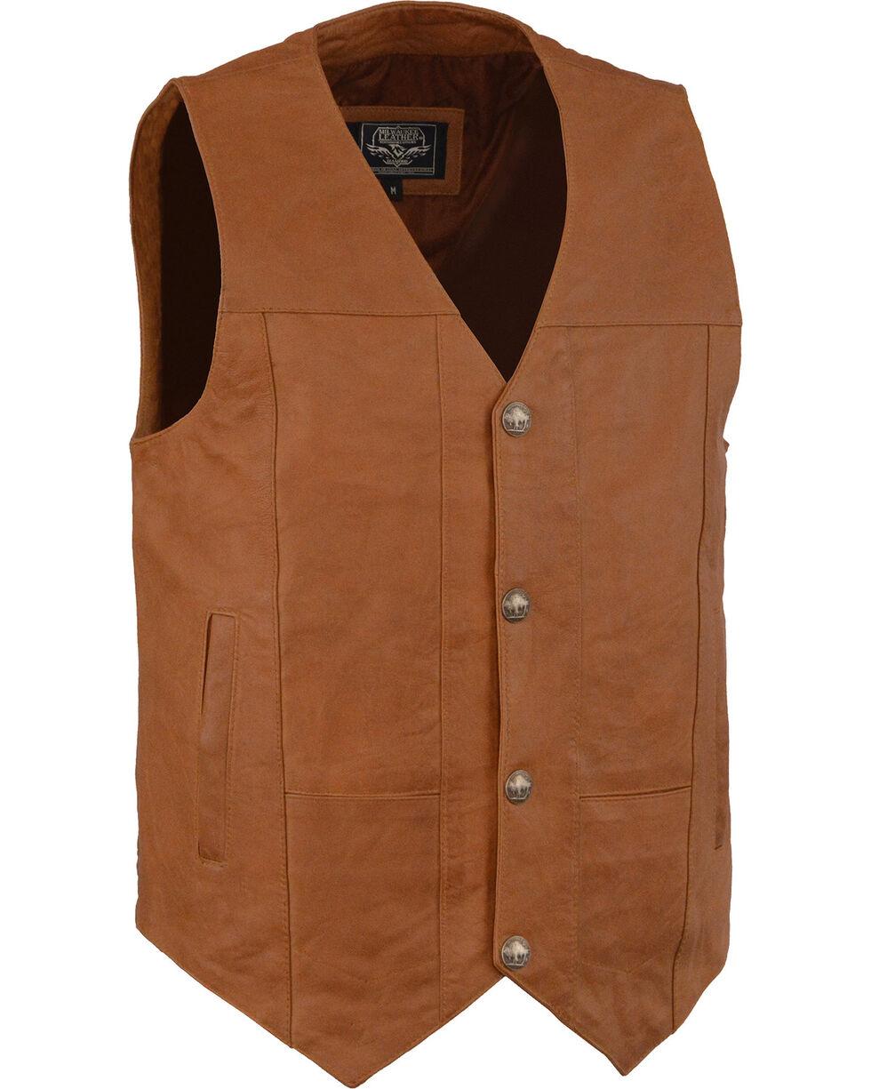 Milwaukee Leather Men's Western Plain Side Vest - Big - 5X , , hi-res