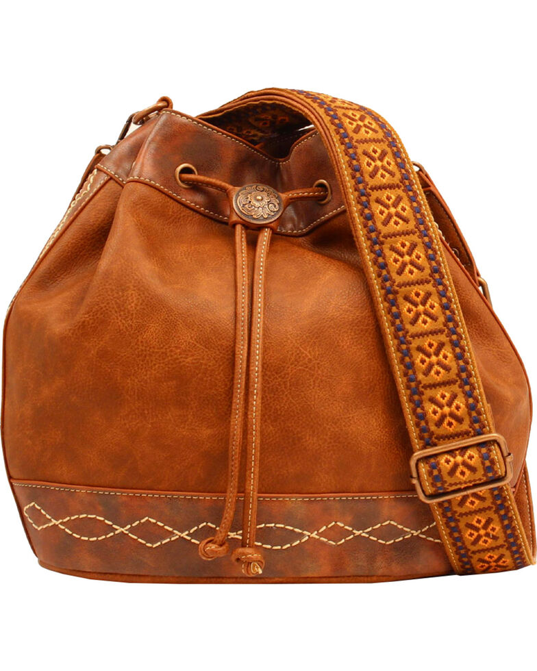 Blazin Roxx Women's Ivy Copper Concho Concealed Carry Bucket Bag, Tan, hi-res