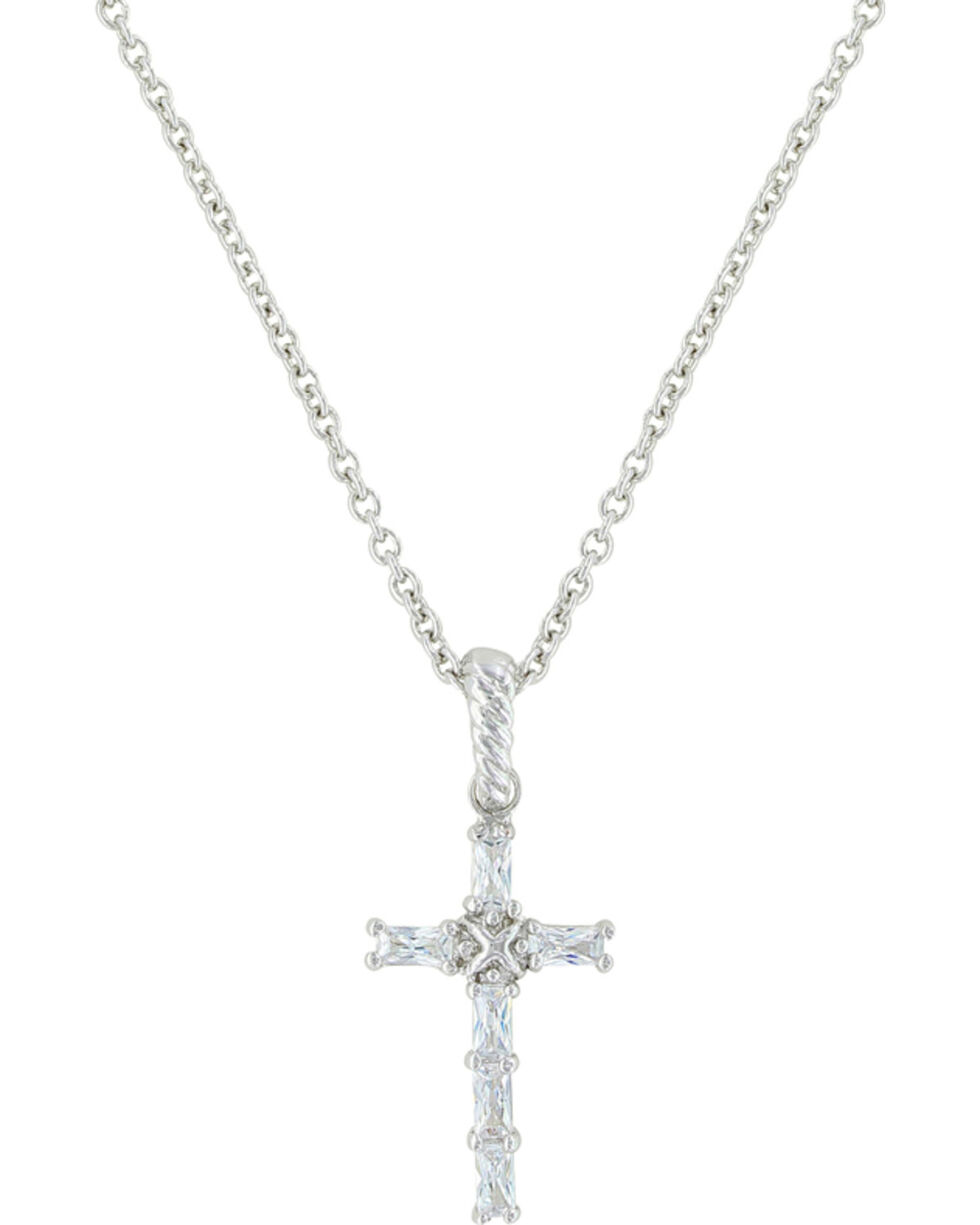 Montana Silversmiths Women's Acadian Cross Baguette Necklace , Silver, hi-res
