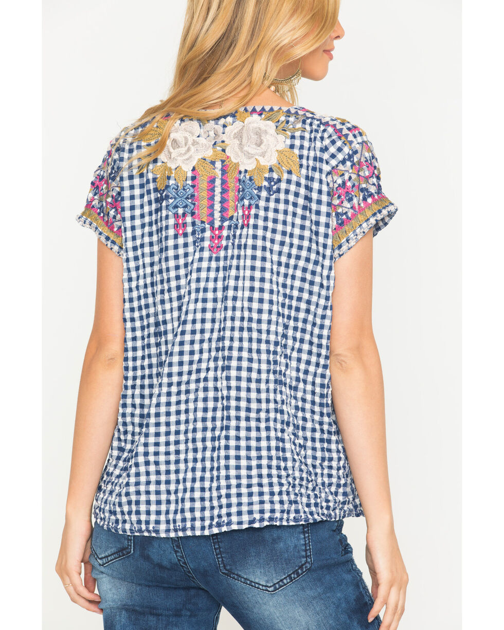 Johnny Was Women's Ronnie Crop Mexican Top, Blue, hi-res