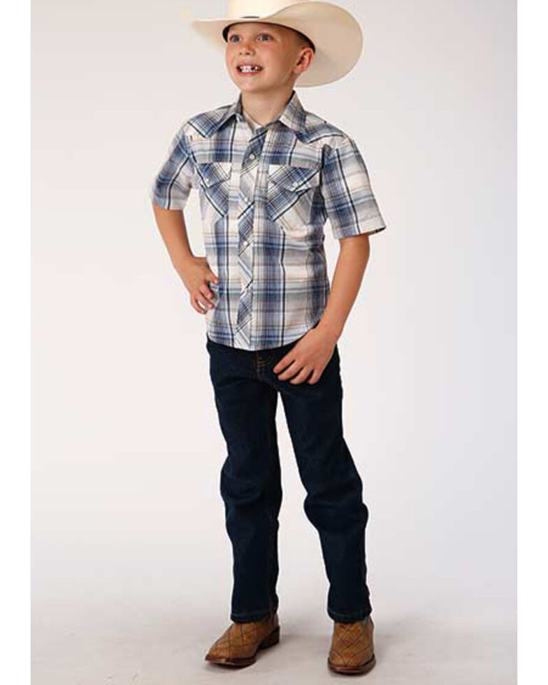 Roper Boys' Blue Plaid Short Sleeve Snap Western Shirt , Blue, hi-res