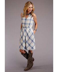 Stetson Women's Plaid Crochet Inset Sleeveless Dress, Blue, hi-res
