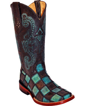 Ferrini Women's Black Patchwork Cowgirl Boots - Square Toe, Black, hi-res