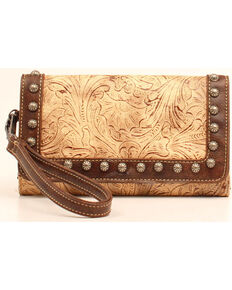 Blazin Roxx Women's Embossed Studded Clutch Wallet, Brown, hi-res