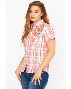 Panhandle Womens Plaid Embroidered Short Sleeve Western Shirt , Multi, hi-res