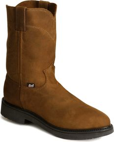 Justin Men's Conductor Electrical Hazard Pull-On Work Boots - Steel Toe, Brown, hi-res