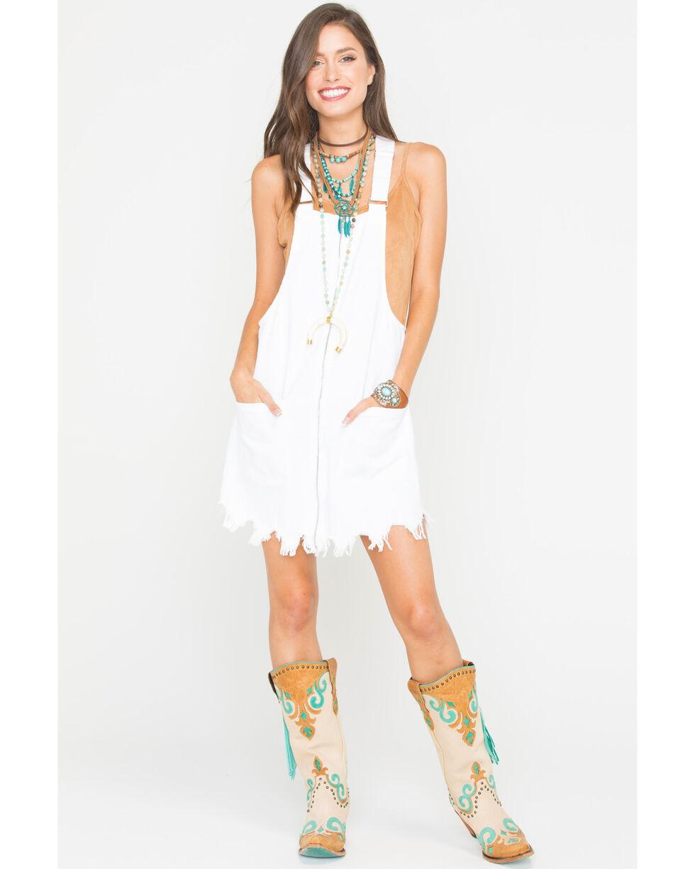 Tractr Blu Women's White Exposed Zipper Fray Hem Overall Dress , White, hi-res