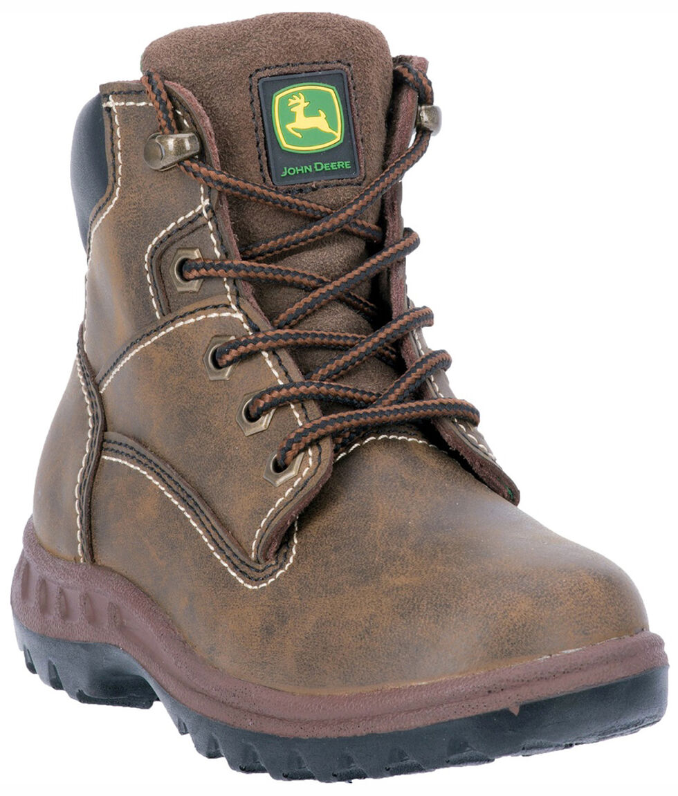John Deere Youth Boys' Leather Lace-up Work Boots, Distressed, hi-res