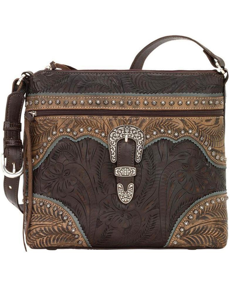 American West Women's Saddle Ridge Zip Top Shoulder Bag , Chocolate, hi-res