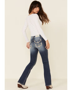 "Miss Me Women's 32"" Inseam Leather Patch Chloe Bootcut Jeans , Blue, hi-res"