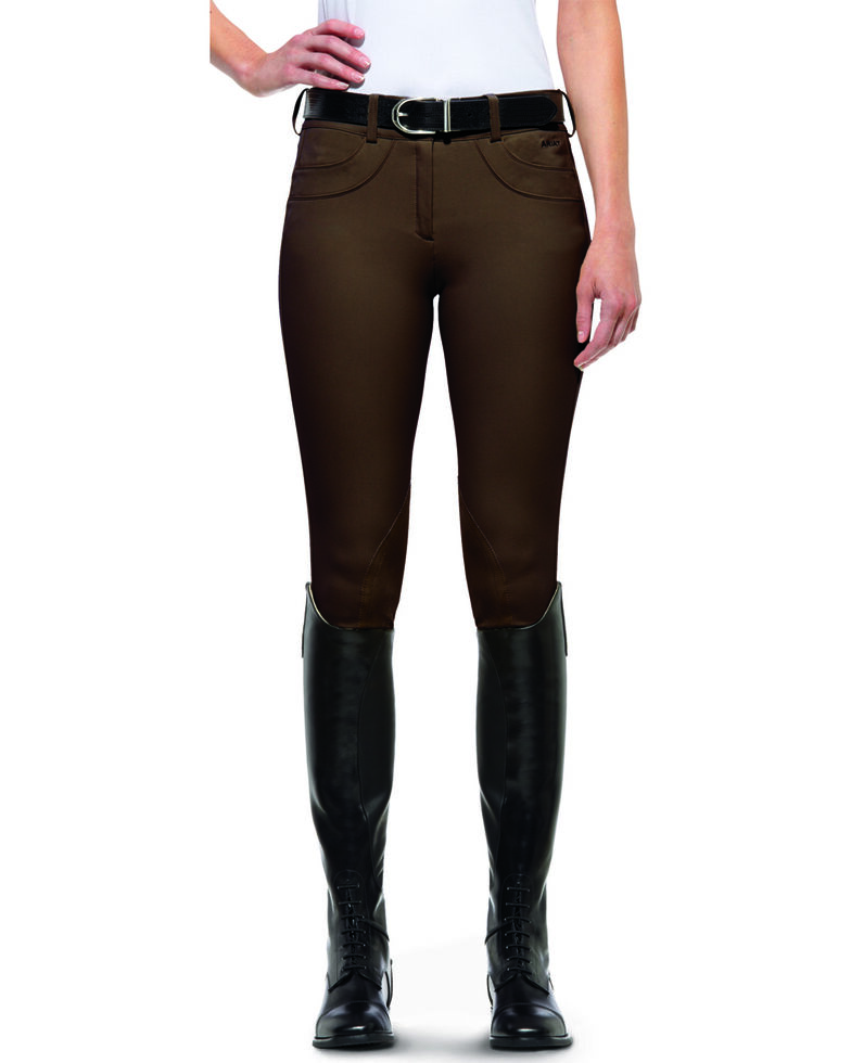 Ariat Women's Olympia Low Rise Front Zip Knee Patch Breeches, Espresso, hi-res