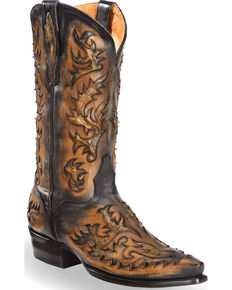 El Dorado Men's Handmade Black and Tan Inlay Cowboy Boots – Snip Toe , Black, hi-res