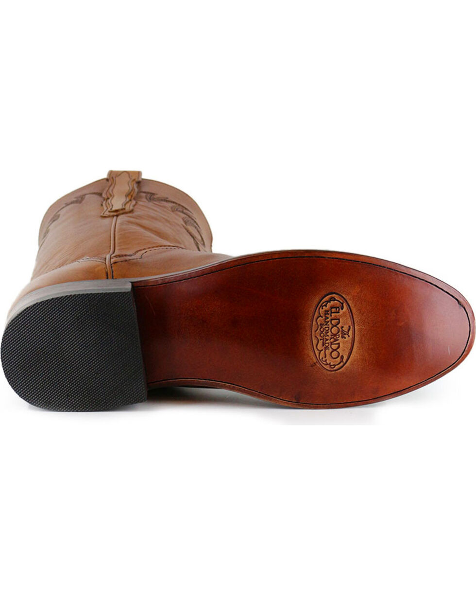 El Dorado Men's Handmade Tan Embroidered Western Boots - Round Toe , Tan, hi-res