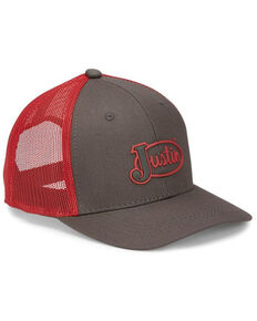 Justin Men's Red Embroidered Rubber Front Cap , Red, hi-res